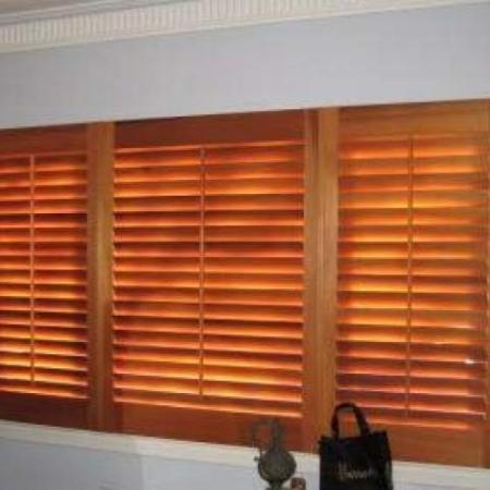 Alan's shutters are made of Western Red Cedar and they have been oiled to preserve the natural timber making it look warm and beautiful. These shutters are Western RedCedar with the 2 outside shutters hinged and the centre one held in place with magnetic catches and the end result is stunning!