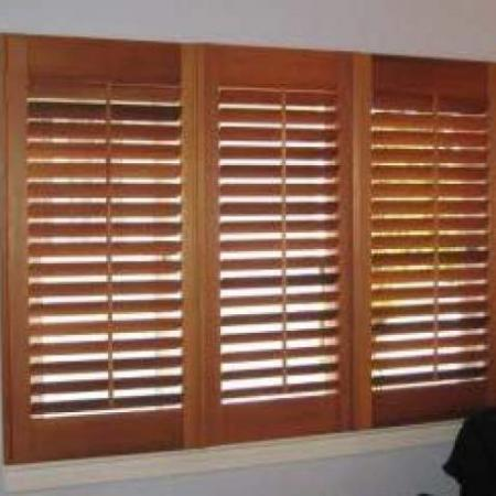 Alan's shutters are made of Western Red Cedar and they have been oiled to preserve the natural timber making it look warm and beautiful. These shutters are Western Red Cedar with the 2 outside shutters hinged and the centre one held in place with magnetic catches and the end result is stunning!