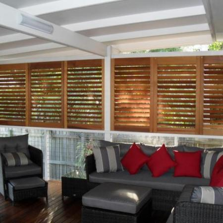 Western Red Cedar Moveable Blade Shutters will do the trick. Western Red Cedar Movable Blade Shutters brings any room to life, especially entertainment area.