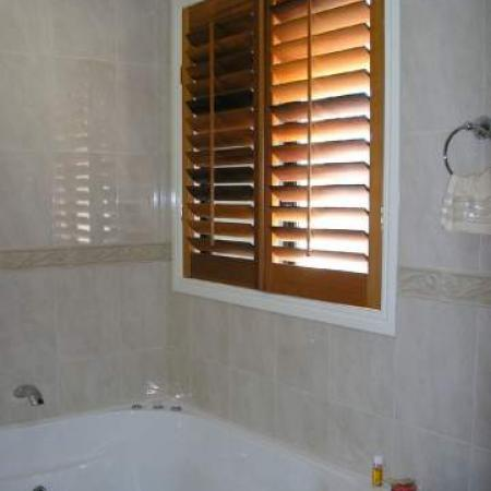 No matter what shape the window ShutterKits can create a cosy backdrop to any situation. Julie and Roy's house is totally fitted out with Western Red Cedar Plantation Shutters. Internal Plantation Shutters have been fitted into the windows in the bathroom creating a lovely feature and creating the privacy you need for any room.