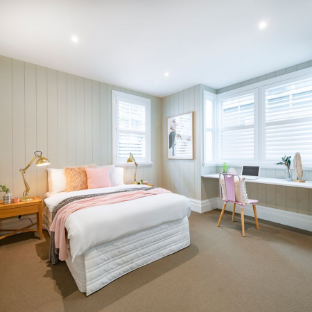 White Plantation shutters can brighten up any room. The white colour adds to the aesthetic of the room creating a clean and crisp theme throughout the home.