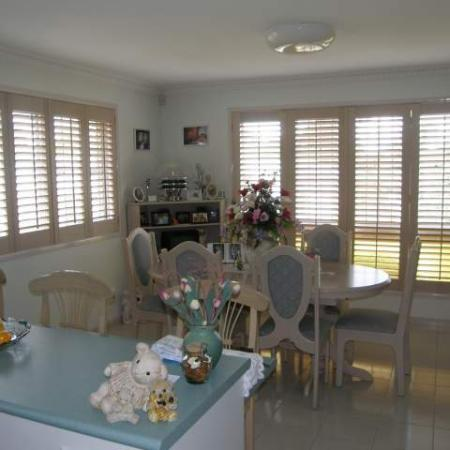 Lyn and Harry's shutters are a great example of the Western Red Cedar shutters being made to compliment the decor; they have used a treatment called