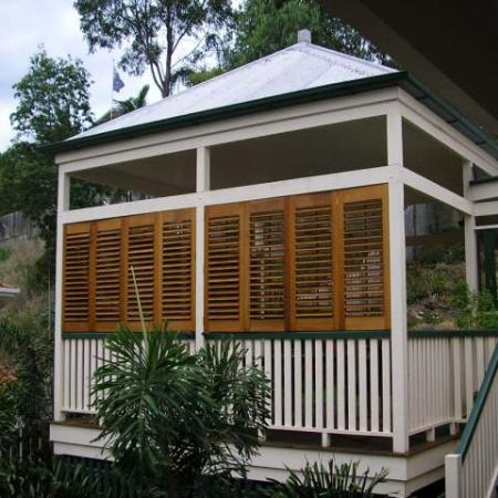 Plantation Shutters are perfect for blocking the elements be it Rain or sunshine. Paul's Gazebo has been given a unique look and excellent protection from the afternoon sun by the installation of Plantation Shutters. The Western Red Cedar shutter options are great for Australian weather and maintaining your privacy all while looking stylish!