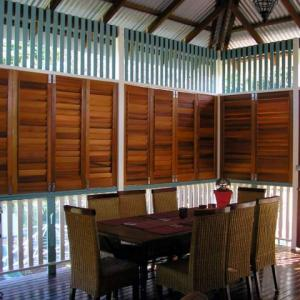 Western Red Cedar Verandah Shutters are the solution to keeping the world out and keeping your privacy in. Alison and her family have created an extra living space by enclosing the verandah on their beautiful old Queenslander with out spoiling the authenticity of the home.
